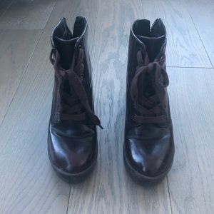 Aldo Lace Up Ankle Boots in Maroon